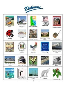 Delaware Bingo:  State Symbols and Popular Sites