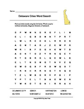 Delaware Cities Word Search (Grades 3-5)