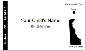 Delaware (DE) Homeschool ID Cards for Teachers and Students