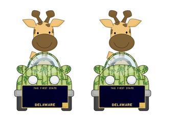 Delaware Giraffe in a car: Name plate for desktag for jungle or safari theme!