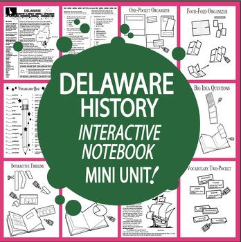 Delaware History–Interactive Notebook Delaware State Study Unit + AUDIO!