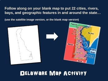 Delaware Map Activity- fun, engaging, follow-along 20-slide PPT