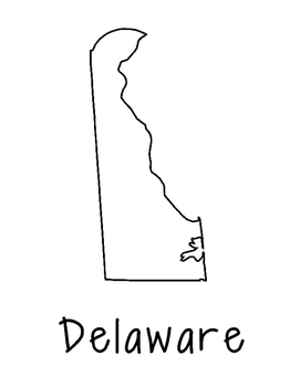 Delaware Map Coloring Page Craft - Lots of Room for Note-Taking & Creativity