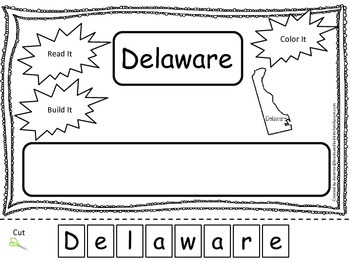 Delaware Read it, Build it, Color it Learn the States preschool worksheet.