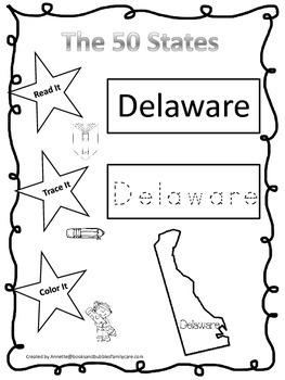Delaware Read it, Trace it, Color it Learn the States preschool worksheet.