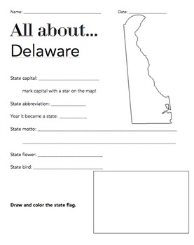 Delaware State Facts Worksheet: Elementary Version