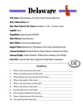 Delaware State Information & Worksheet