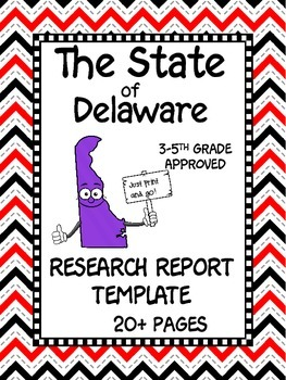 Delaware State Research Report Project Template + bonus timeline Craftivity DE