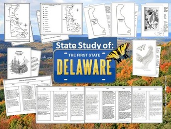 Delaware State Study Interactive Notebook and Bulletin Board Display