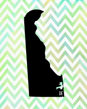 FREEBIE! Delaware Chevron State Map Class Decor, Government, Geography