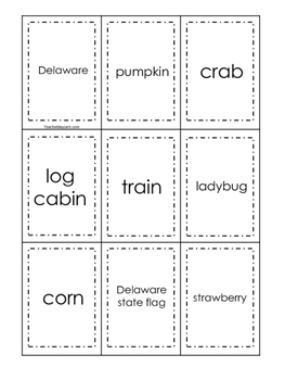 Delaware themed Memory Matching and Word Matching preschool curriculum game.
