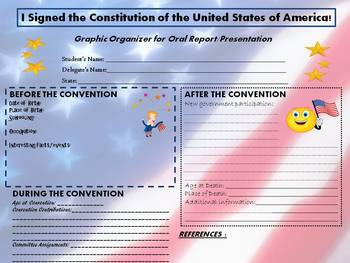 Delegate to the Constitutional Convention Report Graphic Organizer