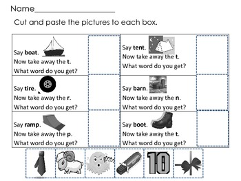 Deletion of Final Sound Phonemic Awareness Word Work Daily 5 Activity Snowflake