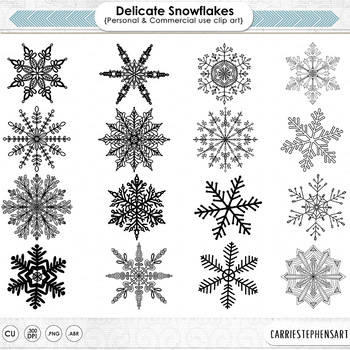 Delicate Winter Snow Flakes, SnowFlake Digital Stamps, Fro