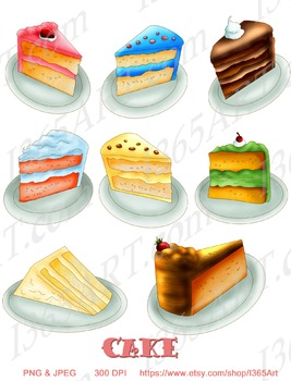 Delicious Cake Clipart 8 Pack Digital Graphics