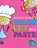 Scissor Skills: Color, Cut and Paste Delicious Desserts {irregular shapes}