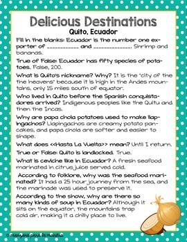 Delicious Destination Quito Ecuador Movie Guide in English Culture Sub Plan