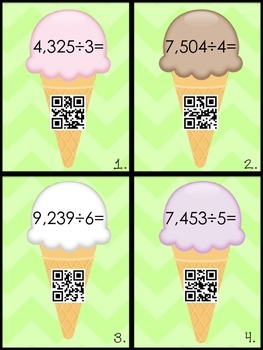 Delicious Division Task Cards & Printables with QR code options