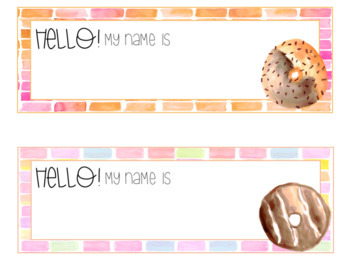 Delicious Donut Watercolor Editable Nameplates