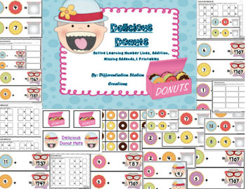 Delicious Donuts: Addition to 20, Number Lines, Missing Addends, & Printables
