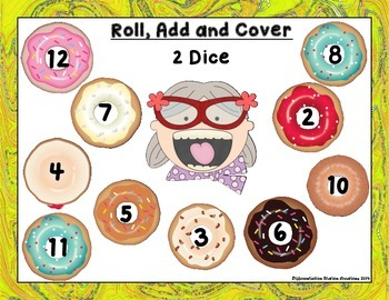 "Delicious Donuts ""Roll, Add, & Cover"" Centers, Games, and Printables"