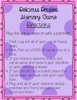 Doubles Facts Memory Math Center