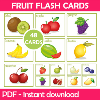 Delicious Fruit Flash Cards; Kindergarten; Preschool; Homeschool; Bulletin Board