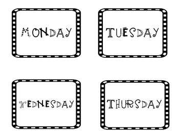 Days of the Week Flash Cards/Labels