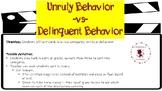 Delinquent -vs- Unruly Behavior Sort