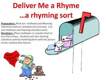 Deliver Me a Rhyme - A Valentine's Day Rhyming Sort