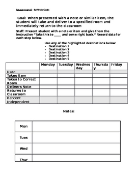 Deliver Note - Functional Skill - ABA -  Data Sheet
