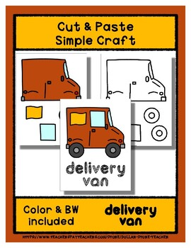 Delivery Van  - Cut & Paste Craft - Super Easy perfect for Pre-K & Kindergarten