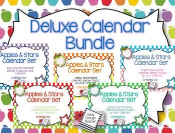 Deluxe Apples & Stars Calendar Kit {a rainbow of colors!}