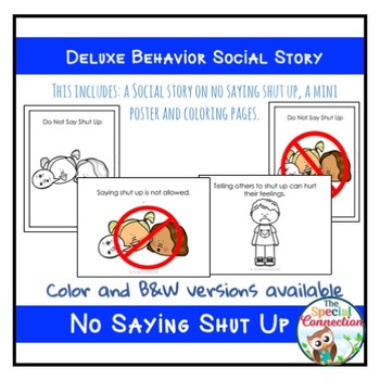 Deluxe Behavior Social Story: No Saying Shut Up