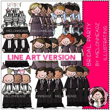 Melonheadz: Bridal Party clip art - LINE ART