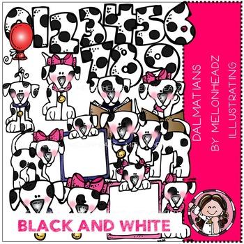 Dalmatians clip art - BLACK AND WHITE- by Melonheadz