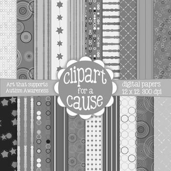 Deluxe Digital Papers: Black White & Gray/Grayscale Scrapbook Paper -20pc-12x12