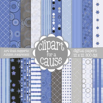 Deluxe Digital Papers: Calming Blues and Grays Scrapbook Paper -20pc-12x12