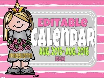 Deluxe Editable Calendar Princess Edition Super Cute Crowns Flowers 2015-2016