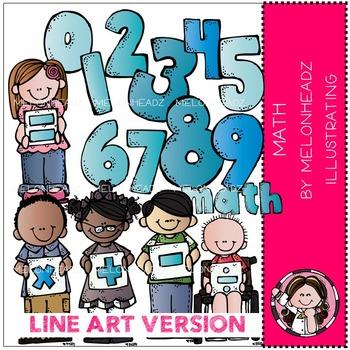 Math clip art - LINE ART - by Melonheadz