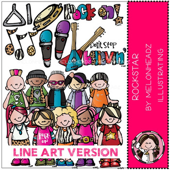 Rockstars clip art - LINE ART- by Melonheadz