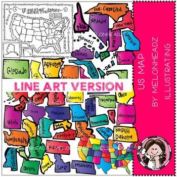 US map clip art - LINE ART - by Melonheadz
