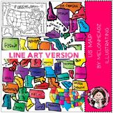 US map clip art - LINE ART - Melonheadz clipart