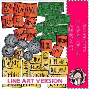 US money clip art - LINE ART- by Melonheadz