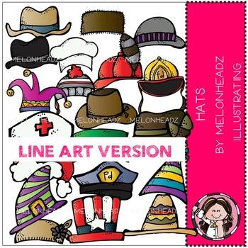 Melonheadz: Hats clip art - LINE ART
