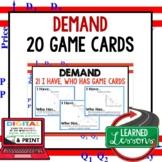 Demand GAME CARDS (Economics and Free Enterprise Test Prep)
