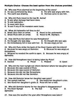 Demeter and Persephone Greek Myth 50 questions, comprehension, grammar