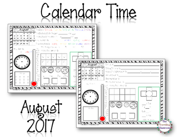 MORNING WORK Calendar Time Worksheets - August 2017