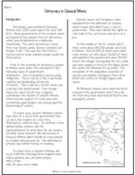 Democracy - Classical Athens, Greece - Non-Fiction, Notes, Qs, Projects & Rubric
