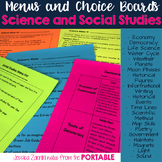 Science, Social Studies, Democracy, and Economy Menus and